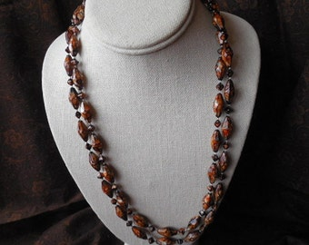 Long brown bead necklace long brown necklace 2 strand brown beaded necklace long beaded boho necklace vintage necklace brown orange