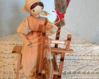 Vintage Cornhusk Doll Spinning Yarn
