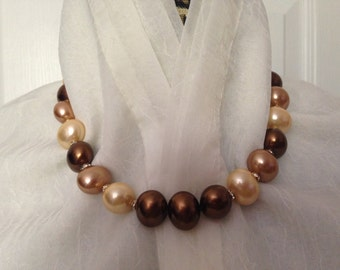 Brown-Gold -Cream Pearl Shell Necklace -Lentil Shape