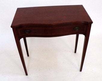 Vintage Solid Mahogany Hall Entry Table & Drawer made by Wabash Indiana USA