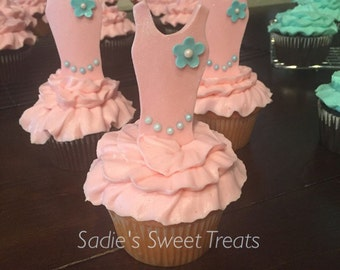 Tutu themed cupcakes, ballerina cupcake toppers, pink tutu cupcake toppers, tutu birthday party,  teal tutu birthday party, tutu cupcakes