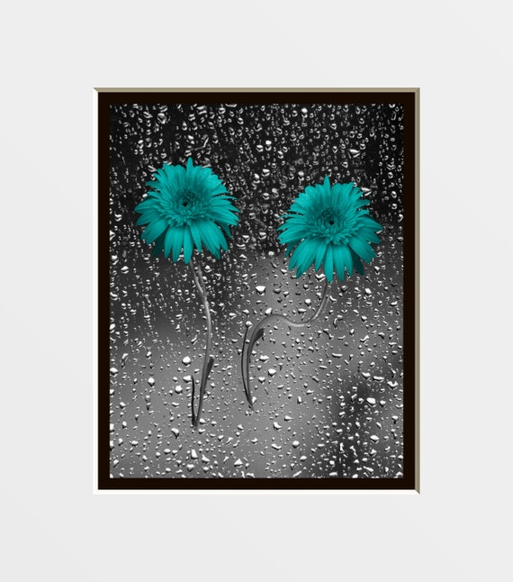 Teal Gray Wall Art Bathroom Bedroom Wall Art By