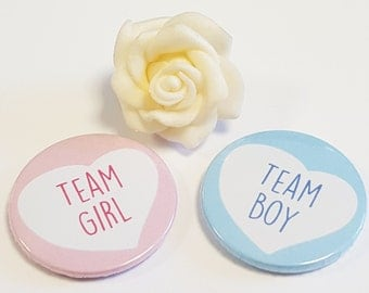 Baby Shower - Reveal Baby Gender  Party - Team Blue Team Pink Team Girl Team Boy - Heart Design (Sold in Packs of 10)