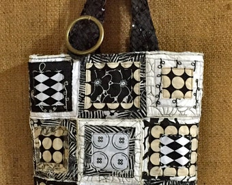 Black and White Patched Tote Bag