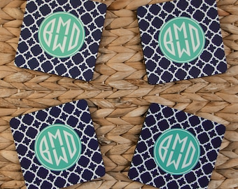 Four Personalized Coasters Custom Monogram Coasters Drink Coasters Wedding Coasters Monogrammed Gifts Wedding Hostess Housewarming Gift