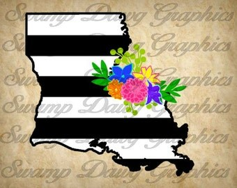 Louisiana Svg, Louisiana floral swag svg, louisiana stripped svg, black and white stripped, floral swag, silhouette, cricut, svg,decal