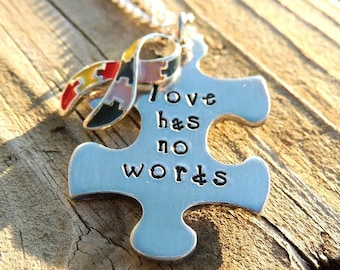 Love has no words - Autism puzzle piece necklace - Autism awareness jewelry - Autism love necklace