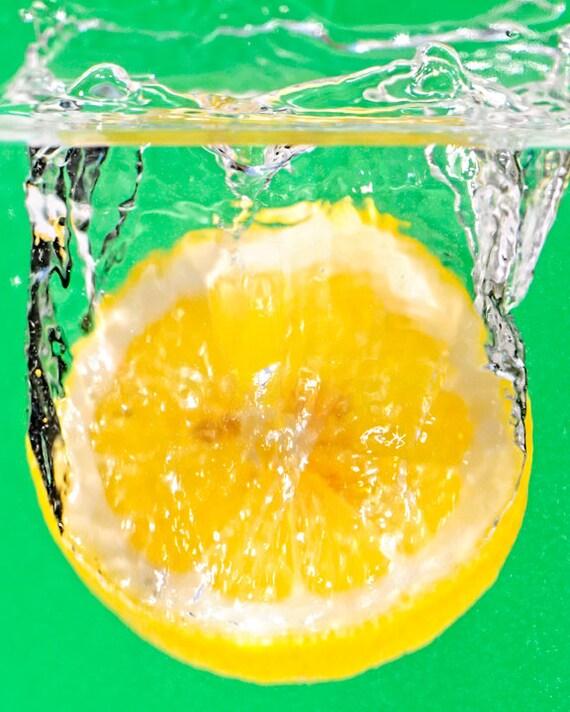 Lemon Splash Photography Wall Art Fruit Yellow Green
