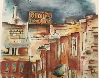 Baltimore, Inner Harbor, Domino Sugars, Watercolor Print