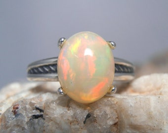 OPAL- Sizzling Genuine Ethiopian Welo Opal Cabochon Sterling Silver Solitaire Ring! Free Re-size! Free Shipping!