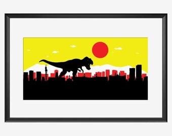 Pretoria skyline, Pretoria South Africa, Pretoria print, Pretoria poster, Tyrannosaurus art, Tyrannosaurus print, Tyrannosaurus rex poster