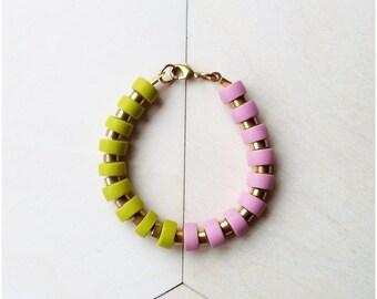 Olive and Pink Bracelet