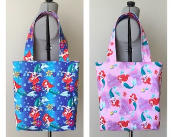 Ariel Reversible Tote Bag, Library Bag, Book Bag, Beach Bag, Summer Bag, Farmers Market Bag