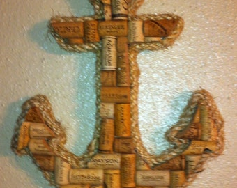 Anchor wall hanging made with real wine corks