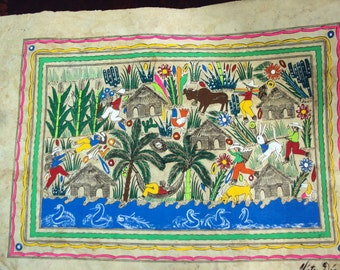 Mexican Amate Folk Art Bark Painting