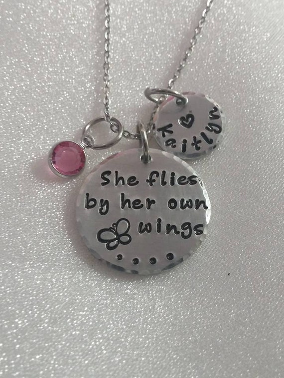 She Flies By Her Own Wings - Inspirational Gift - Gift for Her - Hand Stamped Jewelry - Quote Jewelry - Empowering Necklace - Stamped Gift
