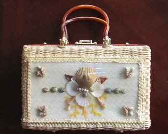 Vintage LUCTE Atlas Handbag Purse Wicker 1950's  Princess Charmng