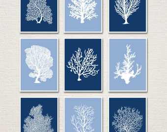 Underwater Coral Home Decor Prints 5x7 Set of 9 (Colors featured: Regatta and China Blue--over 700 colors to choose from)