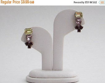 CLEARANCE SALE Jay Flex Sterling Silver Rhinestone Earrings - Purple Yellow and Lavender - Vintage 1950s Signed Screw Backs