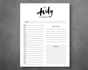 The Daily Schedule Printable // Daily Planner, Day Organizer, Desk Planner, Minimalist Agenda, Stylish To Do List, Instant Download
