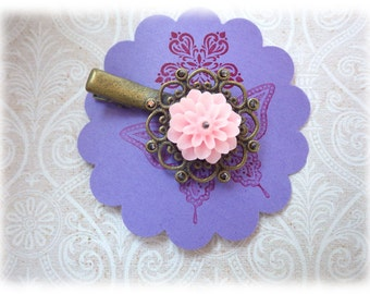 Soft Rose - Bobby pin hair clip Resin Dahlia pink bronze ornament