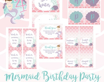 Mermaid Birthday Party Printables - Instant Download
