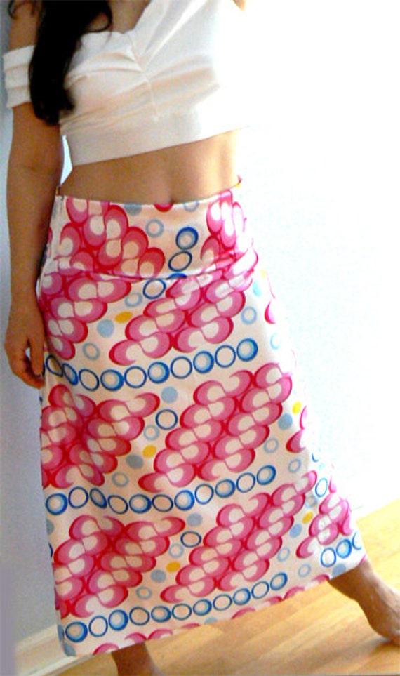 Satin summer maxi skirt- Women satin print skirt,  casual pink white print skirt - Retro inspired skirt - Fashion satin maxi skirt