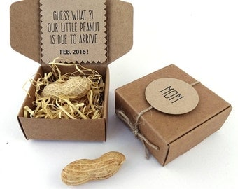 Pregnancy Announcement, Peanut, Nuts, New Baby Arrival, Grandmother, Grandfather, Grandparents, Paper Box, Burlap, Rustic, ECO