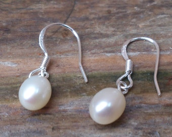 vintage sterling silver and real pearl drop earrings