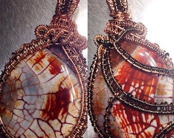Touch Of Fire Double Sided Pendant Wirewrap free ship US