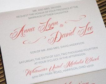 coral gray white romantic script seal and send custom wedding invitation