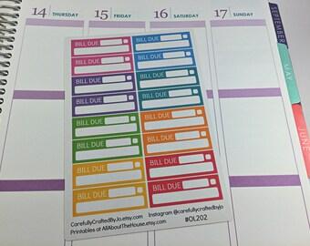 Bill Due Planner Stickers, Rainbow Sticker, Money, Debt, Bill, Erin Condren, Plum Paper, MAMBI, planner accessory