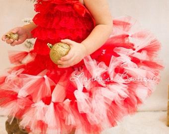 Fluffy Baby Tutu, Red and White Tutu, Petti Tutu, Birthday Tutu, Valentine's Day tutu, Christmas Tutu, Photo Prop Tutu, TUTU ONLY