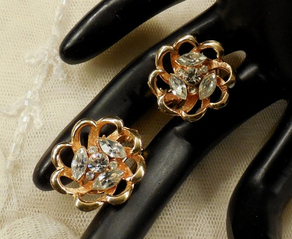 clear earrings for work vintage bsk open work floral clear rhinestone earrings 9864