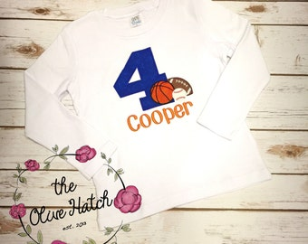 Sport Birthday Shirt - Baseball - Football - Basketball - Custom - Applique Embroidery
