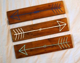 Wooden Arrows // Tribal Nursery Wall Decor // Navy blue, Teal Blue and White // Set of 3