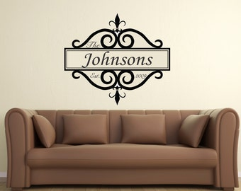 Personalized Family Name & Date Est... Vinyl Wall Art Decal Sticker Home Decor Sharp