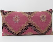Kilim Pillow Lumbar kilim pillow pink fuchsia decorative pillow sham boho chic fabric bench pillow sham pink decorative pillow couch 22772