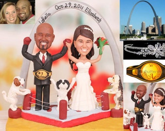Boxer couple on stage - Personalised wedding cake topper (Free shipping)
