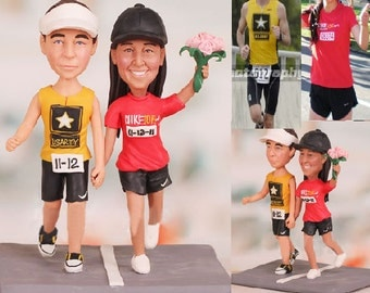 Runner Bride and Groom Running Wedding Cake Topper  - Personalised wedding cake topper (Free shipping)