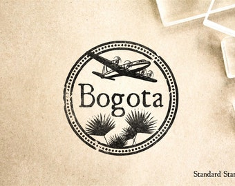 Bogota Colombia Rubber Stamp - 2 x 2 inches