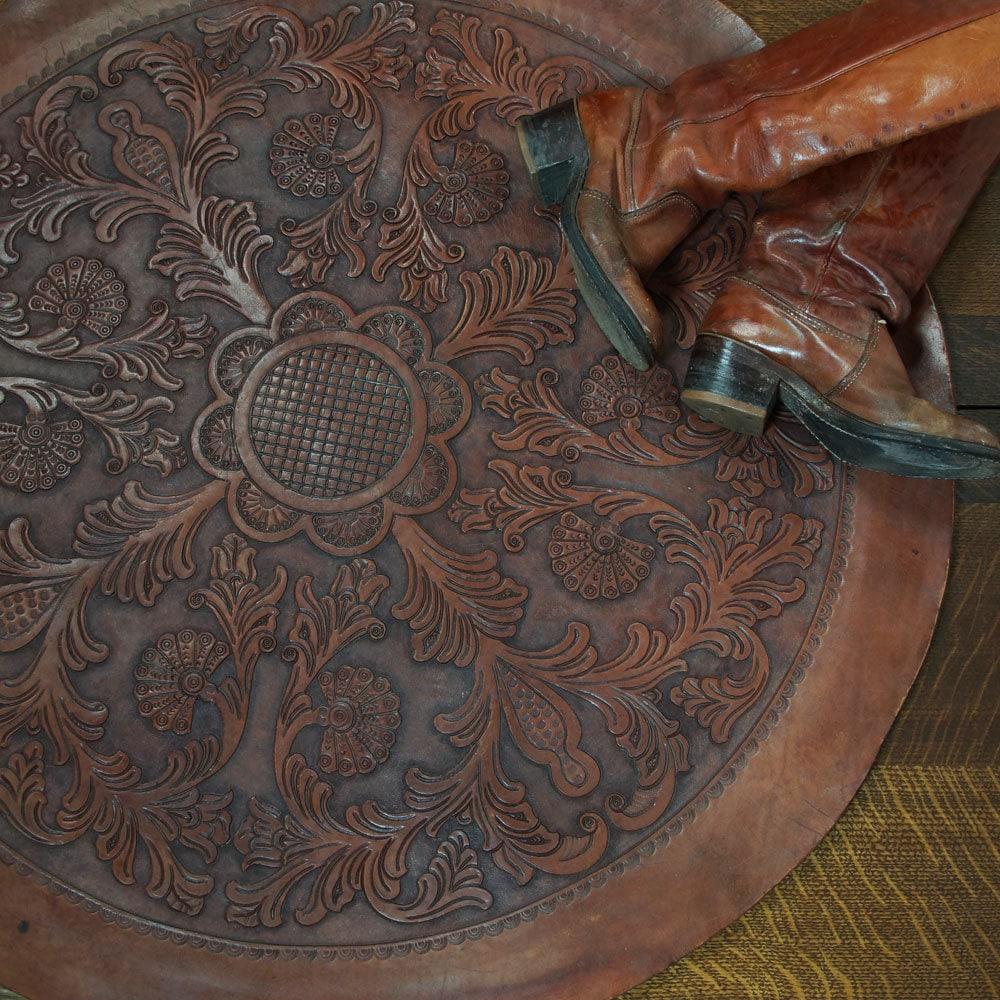 Tooled Leather Rug Vintage 1970s Round Area Rug Bohemian