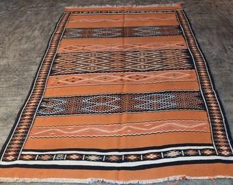 LARGE Vintage Hand Woven  MAGREBHIAN Wool Kilim RUG