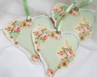 3 Shabby Rose Heart Ornaments Chic Flowers Hang Tags Romantic Simply Beautiful