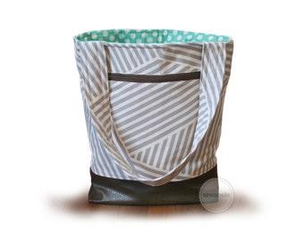 Customizable diaper bag / grey stripes knitting bag / grey stripes tote bag / striped diaper bag