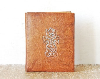 Vintage Leather Embossed Portfolio Case, Brown Paper Folder Luxury, Tooled Leather Folder, Luxury Retro File