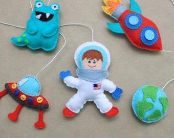 Space ornaments astronaut ornaments Space favors felt spaceman mobile rocket ornament universe magnets galaxy decorations space nursery