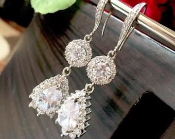Bridal Earrings, Cubic Zirconia Ear Posts, Cubic Zirconia-Crystal Tear Drop Bridal earrings,crystal tear drop earrings