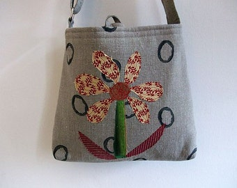 Womens Linen Messenger Bag, Cross Body Bag, Shoulder Bag, Linen Bag, Tote, Purse, Appliqued Bag, Handmade UK Seller, OAAK Bag