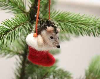 Needle Felted Christmas Hedgehog Decoration,Christmas Stocking,Unique,Needle Felt Ornament,Felting,Felt Hedgehog